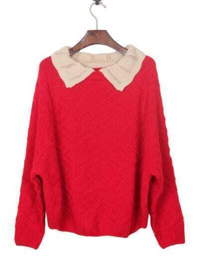 Red Contrast Apricot Collar Batwing Sleeve Pullover Sweater