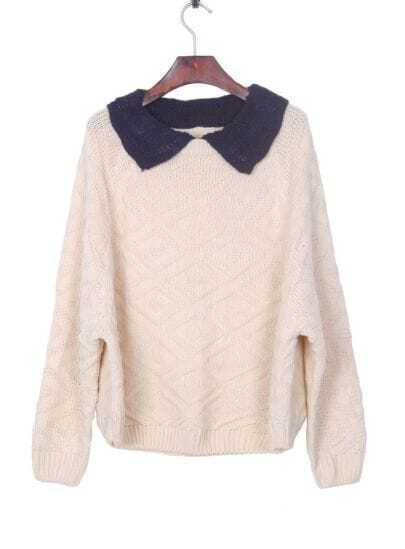 Apricot Contrast Navy Collar Batwing Sleeve Pullover Sweater