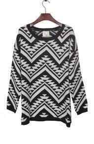 Black and Apricot Contrast Zigzag Geometric Pattern Sweater