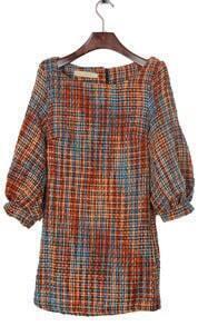 Orange and Blue Fleck Puff Sleeve Zipper Back Tweed Shift Dress
