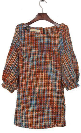 Orange and Blue Fleck Puff Sleeve Zipper Back Tweed Shift Dress