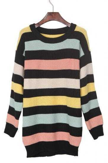 Yellow and Mint Green Contrast Pink Striped Pullover Sweater