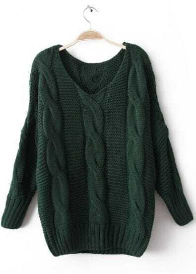 Green Long Sleeve Pullovers Knitted Sweater