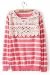 Pink White Striped Long Sleeve Lace Sweater