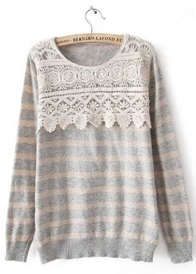 Grey Striped Long Sleeve Lace Sweater