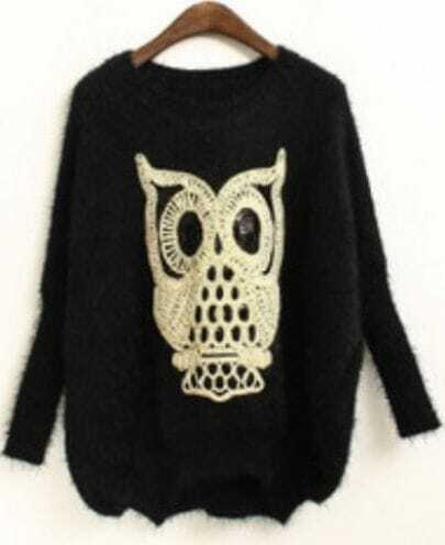 Black Batwing Long Sleeve Owl Sequined Sweater