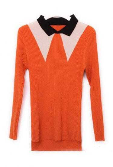 Orange Lapel Long Sleeve Pullovers knitted sweater