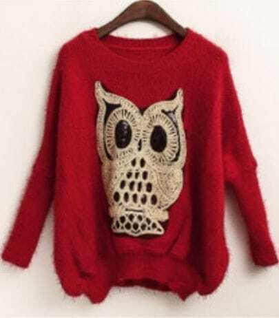 Red Batwing Long Sleeve Owl Sequined Sweater