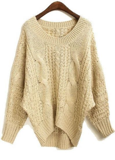 Apricot Batwing Long Sleeve Asymmetrical Mohair Sweater