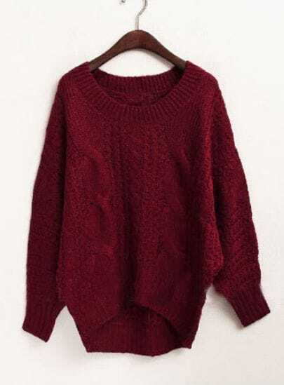 Red Batwing Long Sleeve Asymmetrical Mohair Sweater