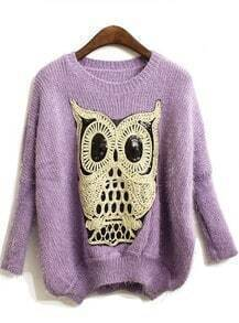 Purple Batwing Long Sleeve Owl Sequined Sweater