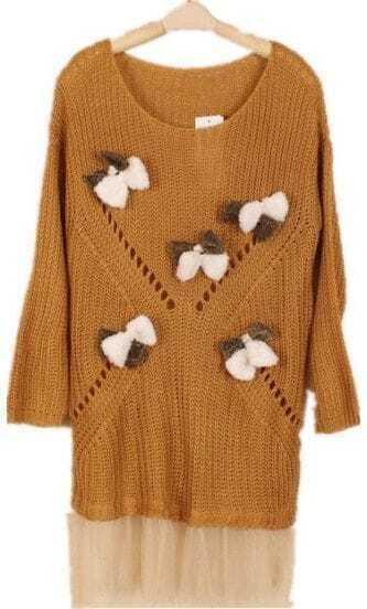 Khaki Long Sleeve Contrast Mesh Yoke Bows Sweater