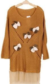 Khaki Long Sleeve Contrast Mesh Yoke Bows Sweater
