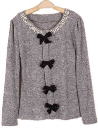 Grey Long Sleeve Pearls Bow Embellished Sweater