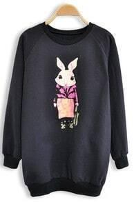Navy Long Sleeve Rabbit Print Sweatshirt