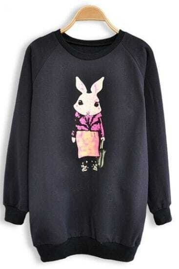 Navy Long Sleeve Rabbit Print Sweatshirt