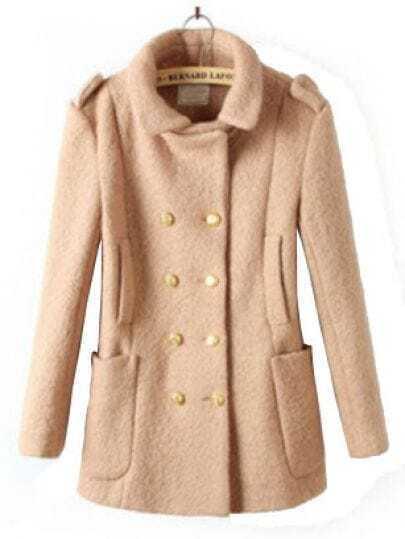 Khaki Notch Lapel Long Sleeve Epaulet Buttons Coat