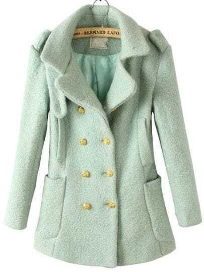 Light Green Notch Lapel Long Sleeve Epaulet Buttons Coat