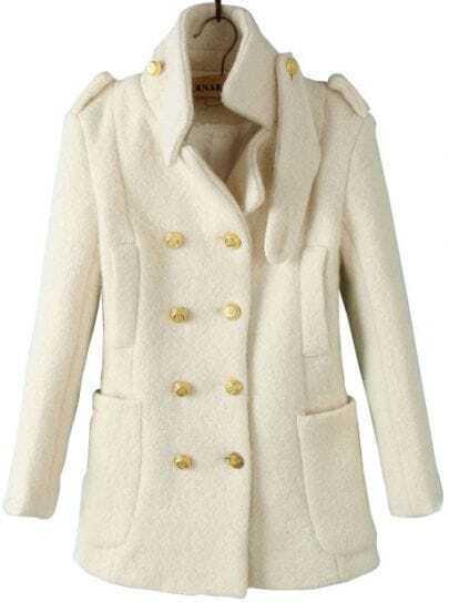 Beige Notch Lapel Long Sleeve Epaulet Buttons Coat