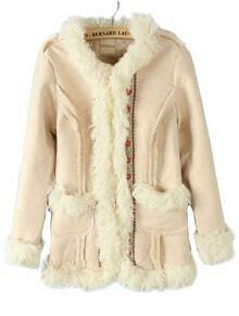 Beige Long Sleeve Contrast Fur Embroidery Coat
