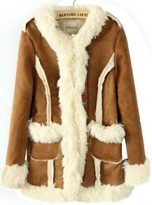 Camel Long Sleeve Contrast Fur Embroidery Coat