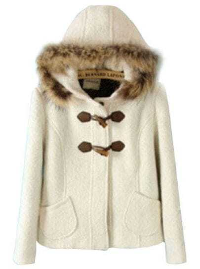 White Fur Hood Coat | Down Coat