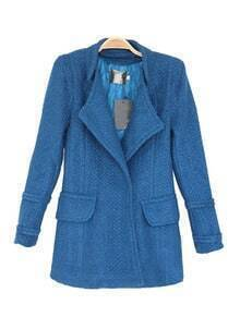 Blue Lapel Long Sleeve Covered button Pockets Coat