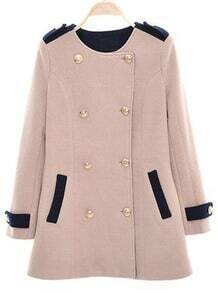 Pink Long Sleeve Epaulet Buttons Pockets Coat