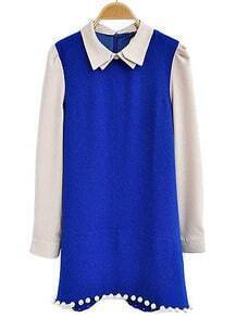 Blue Lapel Puff Sleeve Zipper Beading Dress