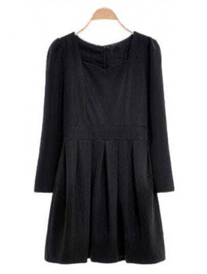 Black Puff Sleeve Back Zipper Ruffles Dress