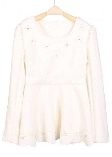 White Long Sleeve Beading Ruffles T-Shirt