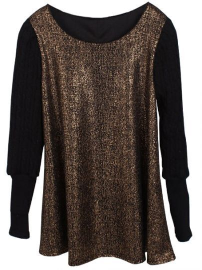 Gold Contrast Long Sleeve Loose T-Shirt