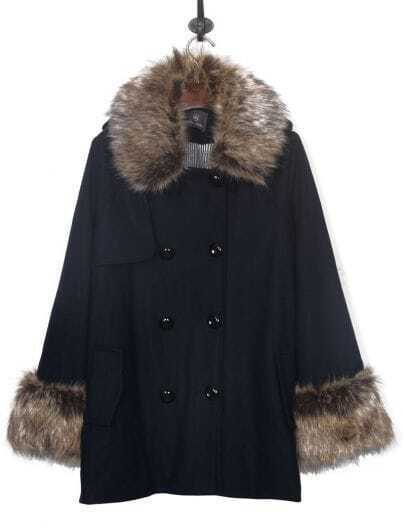 Navy Fur Trim Collar and Cuffs Double Breasted Wollen Coat