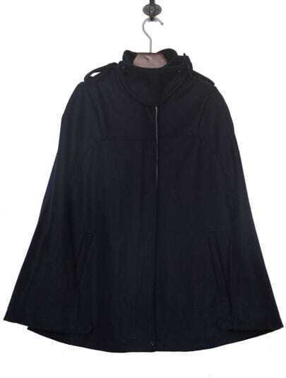 Navy Band Collar Double Brested Woolen Cape Coat