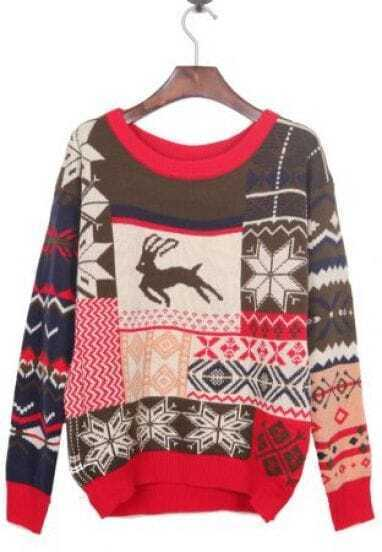 Vintage Christmas Pattern Woolen Sweater