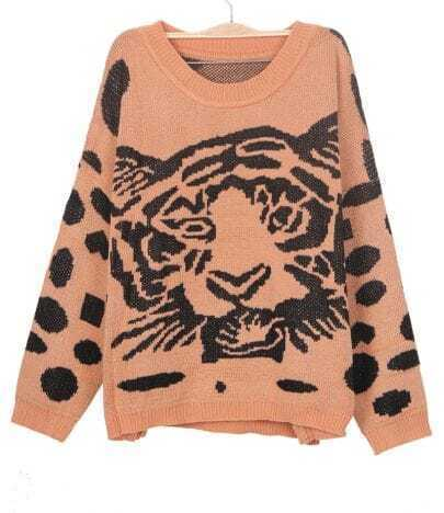 Khaki Tiger Print Oversized Knitted Sweater