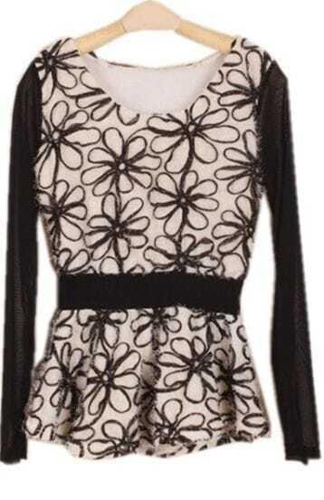 Beige Sheer Mesh Yoke Long Sleeve Embroidery Blouse