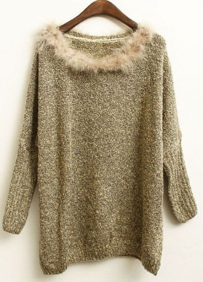 Apricot Batwing Long Sleeve Fur Embellished Sweater