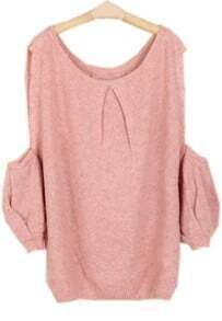 Light Pink Off the Shoulder Long Sleeve Loose Sweater