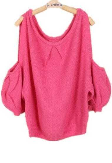 Rose Red Off the Shoulder Long Sleeve Loose Sweater