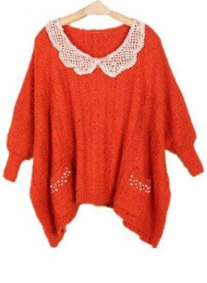Orange Batwing Long Sleeve Beading Pockets Sweater