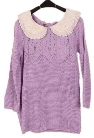 Purple Long Sleeve Lace Lapel Hollow Sweater