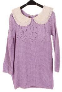 Purple Long Sleeve Lace Lapel Hollow Sweater