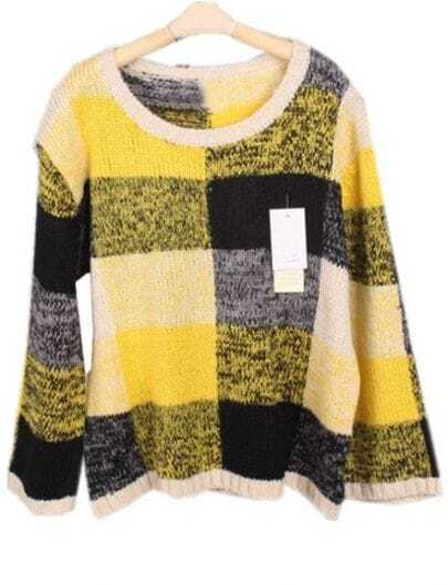 Yellow Batwing Long Sleeve Plaid Pullovers Sweater