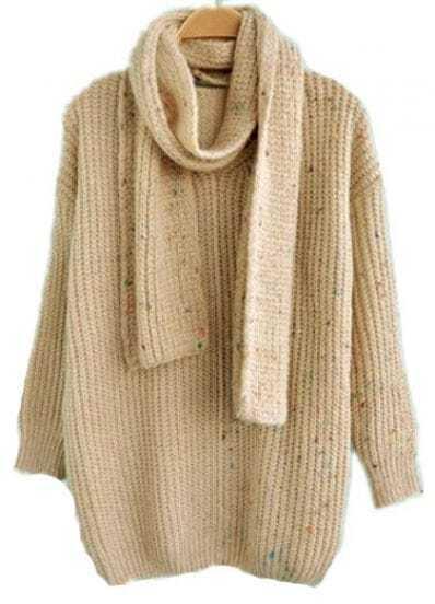 Beige Long Sleeve Scarf Loose Pullovers Sweater