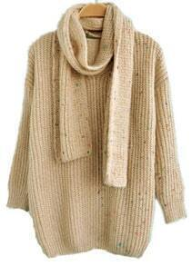 Beige Long Sleeve Scarf Loose Pullovers Sweater