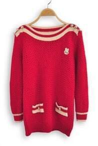 Red Long Sleeve Striped Buttons Embellished Sweater