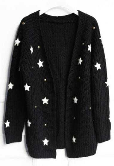 Black Long Sleeve Beading Stars Cardigan Sweater