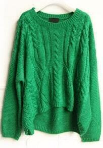 Green Long Sleeve Asymmetrical Embroidery Sweater