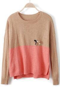 Camel Pink Long Sleeve Bow Embellished Sweater
